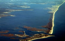 An aerial image of Barnegat Bay looking north along Long Beach Island.
