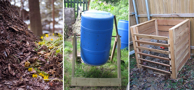 photo of compost bins and piles